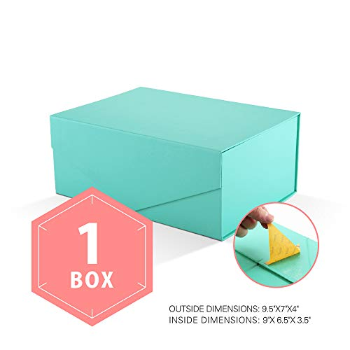 PACKHOME Gift Box Rectangular 9.5x7x4 Inches, Bridesmaid Box Rectangle Collapsible Box with Magnetic Lid for Gift Packaging (Matte Turquoise with Embossing, 1 Box)]()