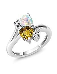 1.48 Ct Heart Shape Yellow Citrine White Simulated Opal 10K White Gold Ring (Available 5,6,7,8,9)