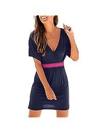 TIMEMEANS Dress Womens Casual Loose Short Sleeve V-Neck Beach Style Mini Dress