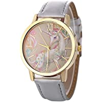 Homim Artificial Leather Strap Simple Dial Quartz Watch Cartoon Colorful Unicorn Print for Teen Students