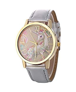 Homim Artificial Leather Strap Simple Dial Quartz Watch Cartoon Colorful Mini Cute Print for Teen Students