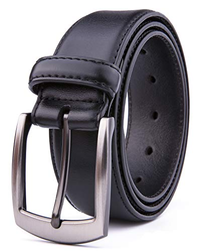 Men Genuine Leather Belts, Fashion & Classic Design for Casual and Dress (36, Black #2) ()