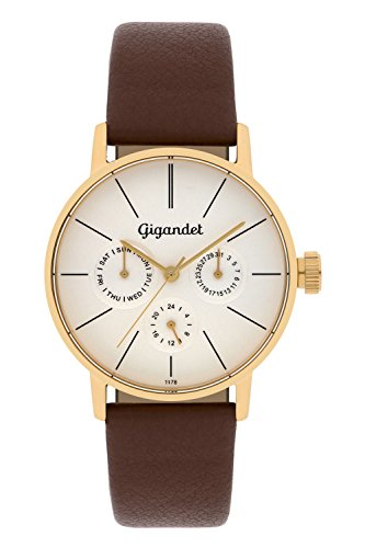 Gigandet Women's Quartz Watch Minimalism Multifunction Analog Leather Strap Gold Brown G38-003