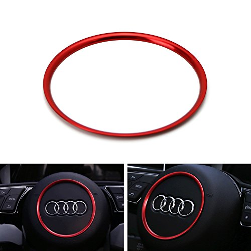 iJDMTOY (1) Red Aluminum Steering Wheel Center Decoration Ring Cover Trim For Audi A3 A4 A5 A6 Q3 TT S3 S4 S5 S6 Round Shape Center Emblem