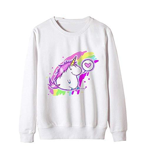 Lunghe White Autunno Felpa Tempo Festa Style 8 Moda Jumper Sweatshirts Unicorno Giovane Ragazze Camicetta Ragazze Maglione Maniche S O Size Color Eleganti Collo Libero Donna Invernali rBBvq5X