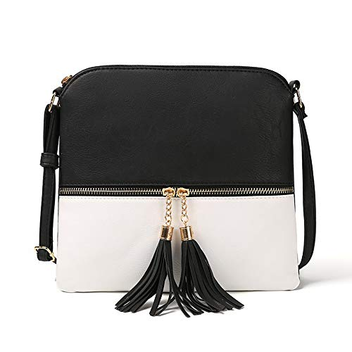 - DukeTea Medium Crossbody Bags for Women, Tassel Crossover Purse for Teen Girls Handbag Gift Black White