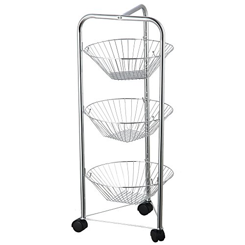 Chef Vida 3 Tier Vegetable Fruit Basket Storage Trolley/R..