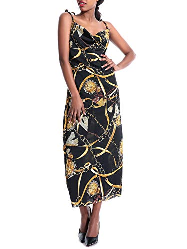 (D Jill Women's Vintage Chain Print Sleeveless Dress Spaghetti Strap Cowl Neck Long Party Dress Black)