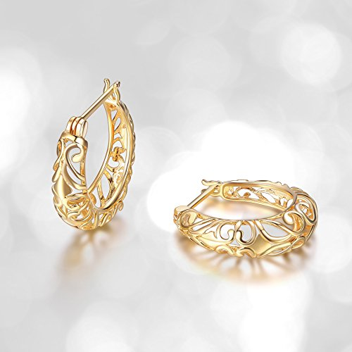 18k Yellow Gold Plated Sterling Silver Filigree Round Hoop (Filagree Hoop)