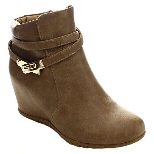 ANNA Cici-9 Women Comfy Almond Toe Platform Hidden Wedge Ank