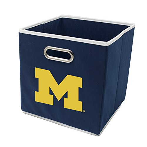 Franklin Sports NCAA Michigan Wolverines Fabric Storage Cubes - Made to Fit Storage Bin Organizers (11x10.5x10.5)