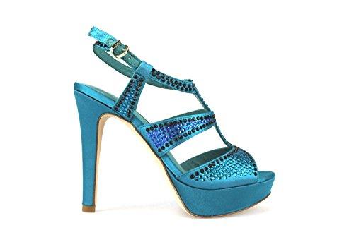 strass mujer verde AH87 satén Sandalias LUCIANO BARACHINI Zapatos 4ZURqa