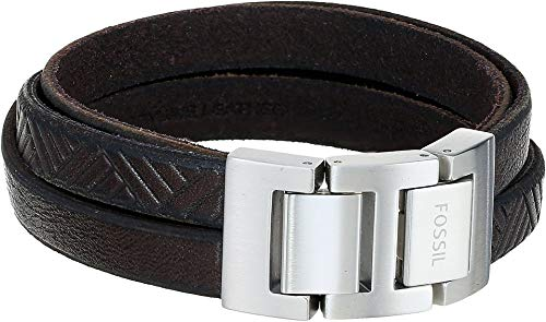 (Fossil Mens Vintage Casual Textured Brown Leather Wrist Wrap Cuff Bracelet, 0)