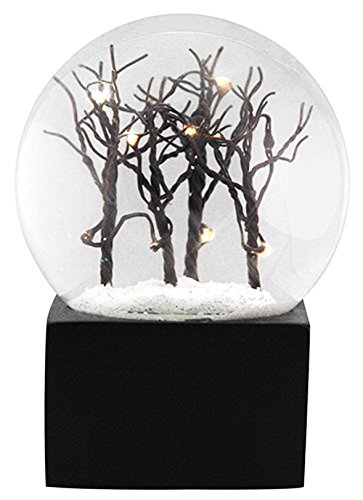 Ebros Snowy Christmas Barren Winter Trees LED Light Up Glitter Water Globe Collectible Figurine 5.25