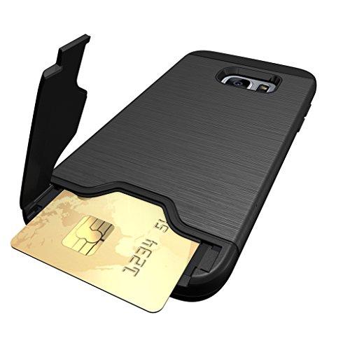 Trumpshop Smartphone Carcasa Funda Protección para Samsung Galaxy S7 edge + Oro Rosa + Fina de PC y TPU Silicona Caja Protectora Función de Soporte Ranuras para Tarjetas Negro