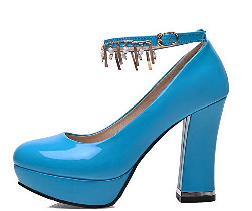 Tacco Azzurro Pelle di Ballet Maiale Chiusa GMMDB006407 Alto Flats Puro Punta Fibbia Donna AgooLar wxqpSS