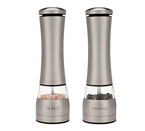 Electric Salt and Pepper Grinder Set of Two. Attractive Laser Engraved Stainless Steel with LED Light, Battery Operated, Adjustable Coarseness Ceramic Grinder Mill, Electric Salt and Pepper - Stainless Steel Electric Pepper Mill