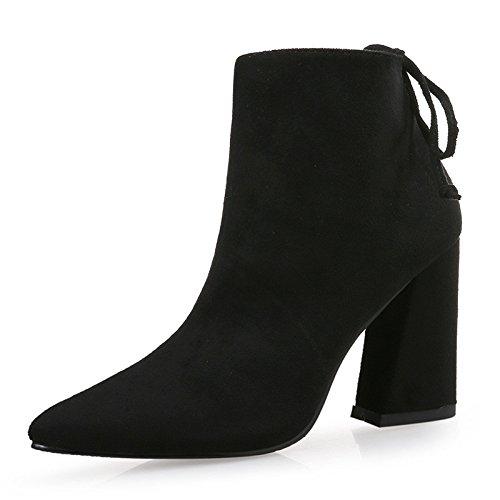 lijado gruesa de de terciopelo cm tacón con punta botas Botas negro de 7 alto 34 45txqXT
