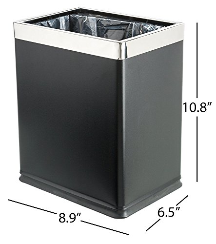Brelso 'Invisi-Overlap' Open Top Metal Trash Can, Small Office Wastebasket, Modern Home Décor, Rectangle Shape (Black) by Brelso