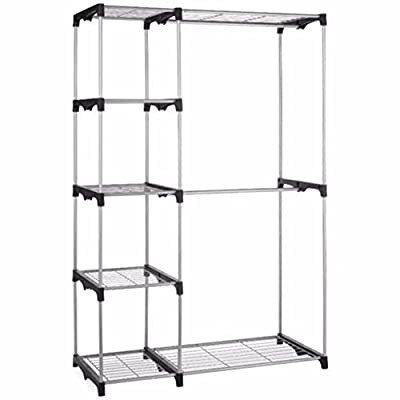 Organizer Storage Clothes Silver Portable Closet Strong Hanger Garment Shelf Rail Rack enough and light enough to move