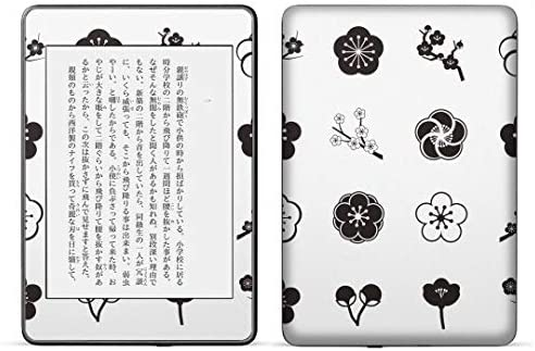 igsticker kindle paperwhite 第4世代 専用スキンシール キンドル ペーパーホワイト タブレット 電子書籍 裏表2枚セット カバー 保護 フィルム ステッカー 015641 梅 花 植物 モノクロ