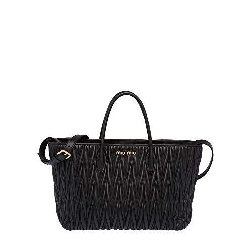 Miu Miu Women's 5Bg162n88f0002 Black Leather Handbag ()
