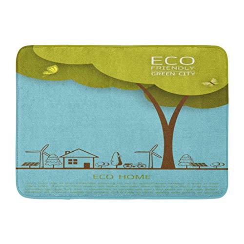 Emvency Bath Mat Eco Earth Wind Turbine Bike Solar Cell House Trees Save Day Environmental Ecology Nature Bathroom Decor Rug 16