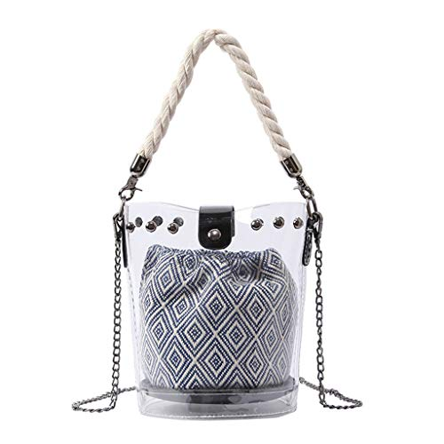2DXuixsh Women's Clear Tote Bags PVC Beach Transparent Shoulder Crossbody Bag Pouch Cute Handbag Bag Lining Purse Blue