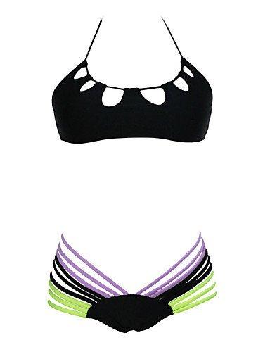 ZQ Bañador para mujer negro elástico con tiras en forma de breve multicolor, black-l, talla única black-m