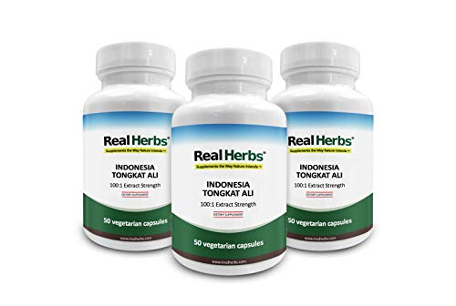 30% Off 3 Bottles of Real Herbs Indonesian Tongkat Ali 100 to 1 Extract - Natural Testosterone Booster - 800mg x 150 Capsules (Best Herb Tongkat Ali)