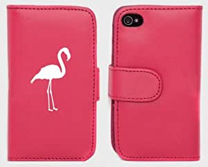 Pink Apple iPhone 4 4S 4G LP74 Leather Wallet Case Cover Flamingo