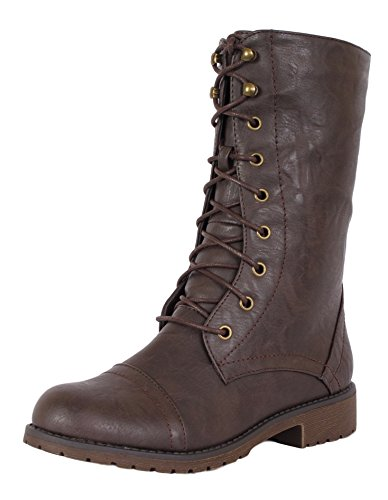 Nature Breeze Lug-11 Leatherette Lace Up Military Boot Brown 8.5 (Womens Military Boots)