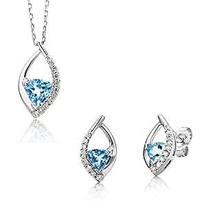 Miore USP019W - Juego de joyas de oro blanco de 9 quilates con diamante (.15)
