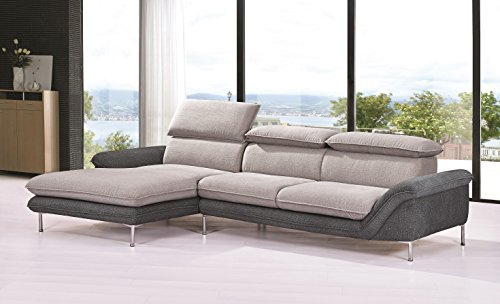 Container Furniture Direct S0109L-2PC Alyssa Flocking Linen Upholstered Right-Sided Sectional Sofa with Chaise,115