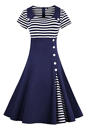ROSE IN THE BOX Womens 1950s Summer Sailor Collar Cocktail Party Swing Dress,Navy,L