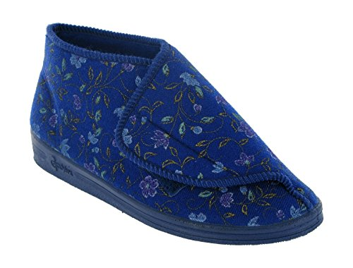 Comfylux Mull Touch Fastening Bootee Ladies Slippers Textile - Wine Blue