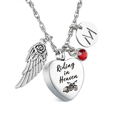 Glimkis Riding in Heaven Urn Necklace for Ashes Motorcycle Cremation Jewelry Cremation Memorial Ashes Pendant