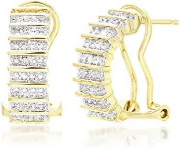Lumineux Diamond Womens Baguette Diamond Accent Lever Back Half Hoop Earrings with White or Yellow Gold Plated Brass
