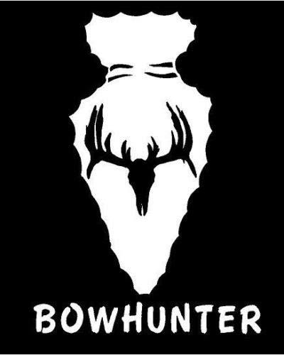 White Vinyl Decal - Bowhunter Arrowhead Skull Deer Hunt Non Typical Antler, Die Cut Decal Bumper Sticker for Windows, Cars, Trucks, Laptops, Etc. (Best Arrowhead For Deer)