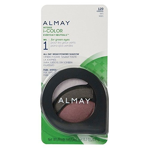 Almay Cosmetics Intense I-Color Everyday Neutrals (120 Greens) and Evening Smoky (160 Greens) Eyeshadow Bundle For Green Eyes, All Day Wear Powder Shadow, Pure, Hypoallergenic, 0.2 oz each