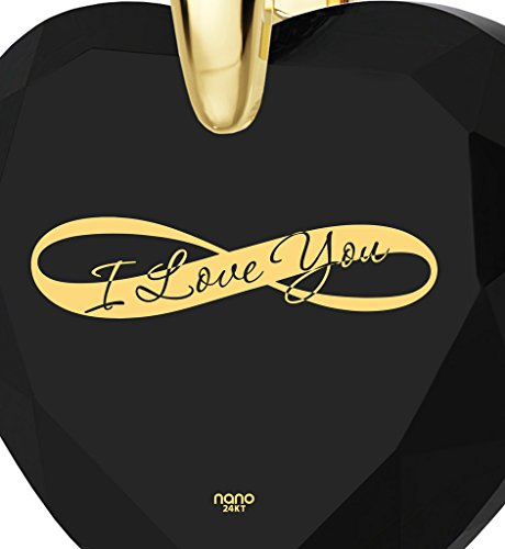 Gold Plated Heart Necklace I Love You Pendant Infinity Symbol 24k Inscribed on Clear Cubic Zirconia, 18'' by Nano Jewelry (Image #2)