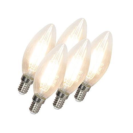 Calex Set de 5 bombillas de vela LED filamento E14 240V 3,5W 350lm B35 regulable: Amazon.es: Iluminación