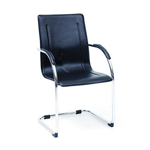 Poltrona ufficio nera in acciaio cromato e rivestimento pvc 56x55xH57 cm