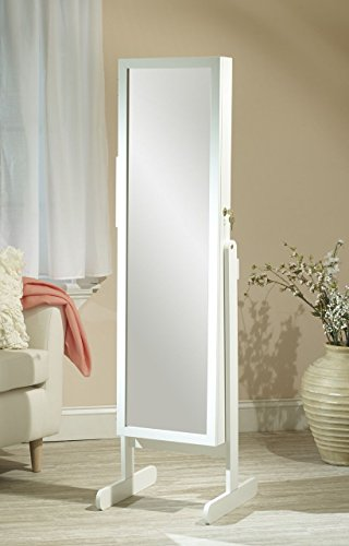 Mirrotek Free Standing Combination Everything Armoire, Customizable Armoire with Full Length Mirror, Vanity Mirror, Adjustable Stand and Lock, White Finish