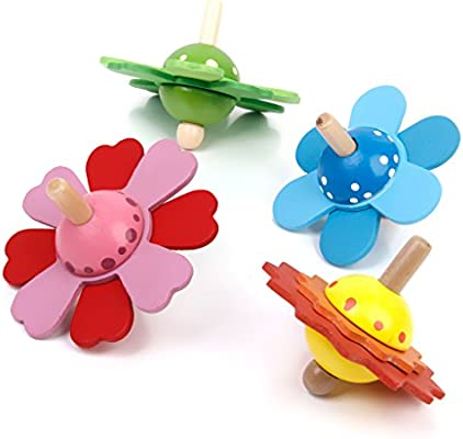 non-brand Vintage Classic Small Wooden Play Spinning Top Flowers ...