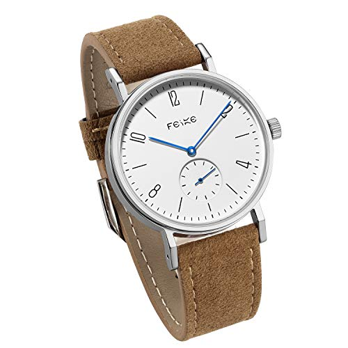 Bauhaus Watch Men's Automatic Watch FEICE Mechanical Wristwatch Minimalist Stainless Steel Leather Band Casual Dress Watches for Women Unisex #FM201 (Brown) ()