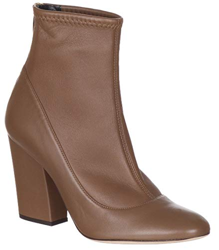 Sergio Rossi Women's Brown Nappa Leather Heeled Ankle Boots Shoes, Brown, US 6.5 / EU 36.5