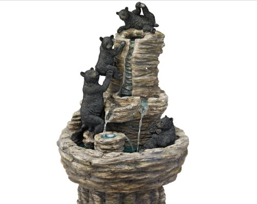 Exclusive Exotic Classic Water Black Bears Sculpture Statue Home Garden Fountain ()