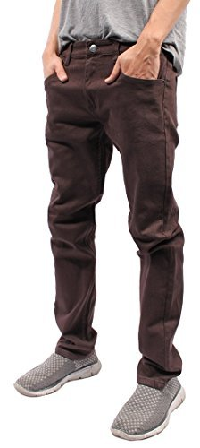 - Mens Color Skinny Jeans (30/30, Brown)