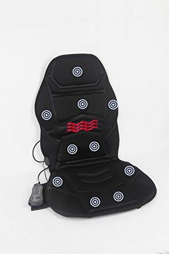 Vibration 10 Motor Massage Seat Cushion with Heat - Lumbar - Neck - Shoulder - Back & Thigh Massager with Heat (10 Motor Massage Mat)